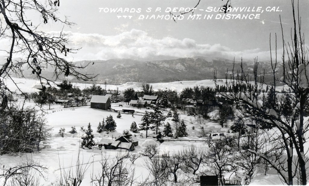 View of Richmond Road January 1916 from Winchester Hill. Susanville received four feet of snow in January, followed by below zero temperatures. After that it was the beginning of a twenty-year drought, with Honey Lake going dry in 1919, and not filling up until the spring of 1938.