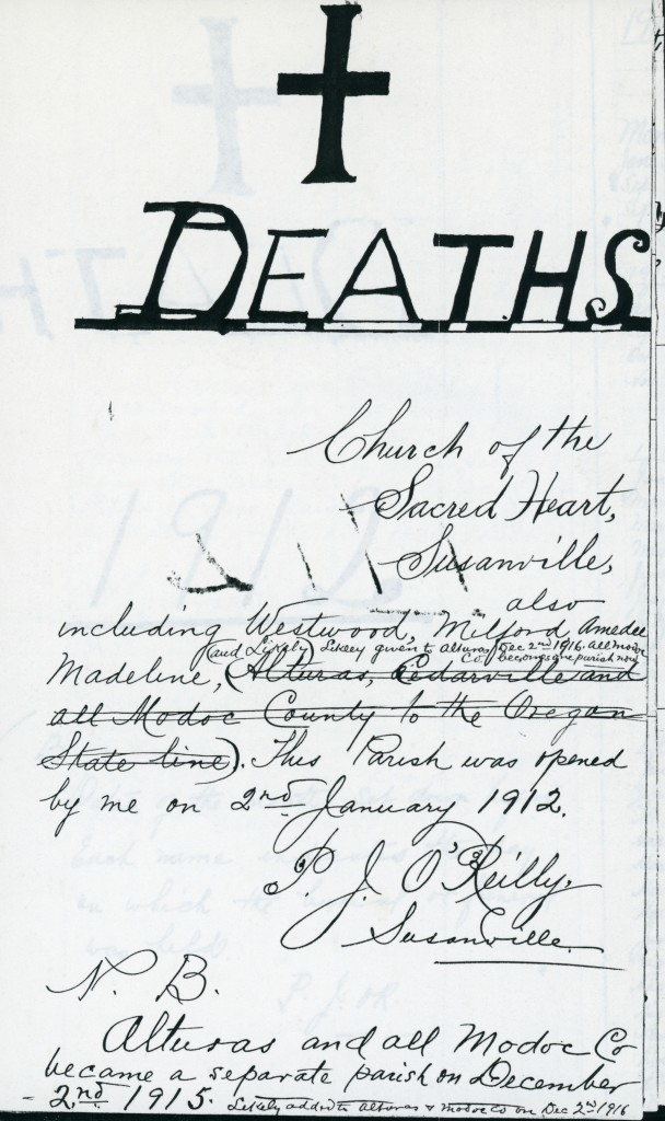 Parish Register front page with writings by Father P.J. O'Rielly
