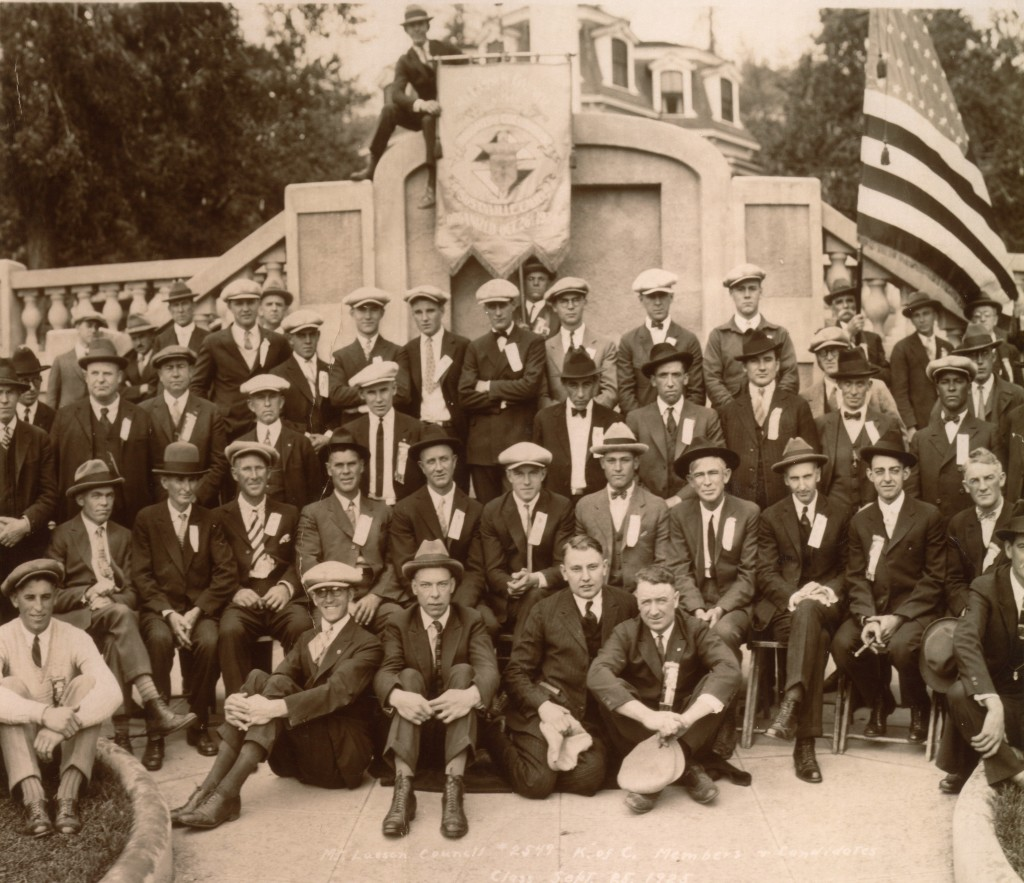 A portion of the local Knights of Columbus assembled at the Elk's Lodge, 1924. Courtesy of Jean Kern