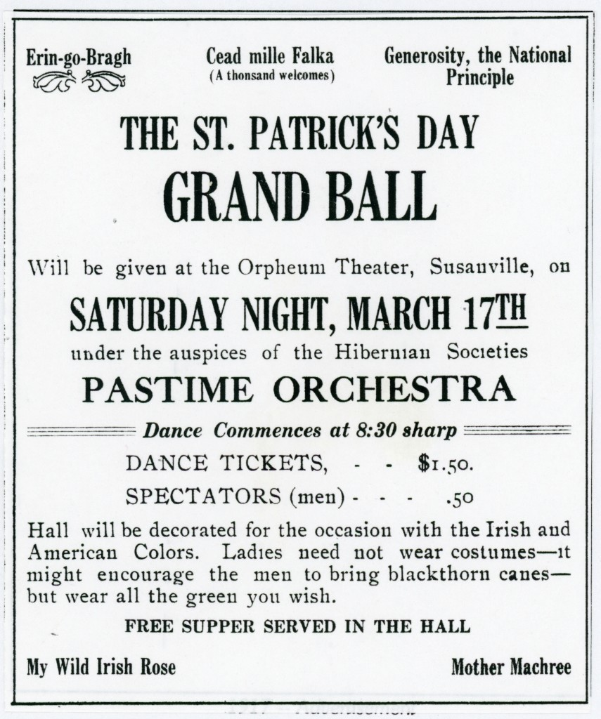 1917 Advertisement for the first St. Patrick's Dinner sponsored by the Sacred Heart Church