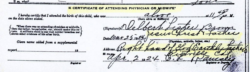 Notice the information Brown provided for his daughter's birth.