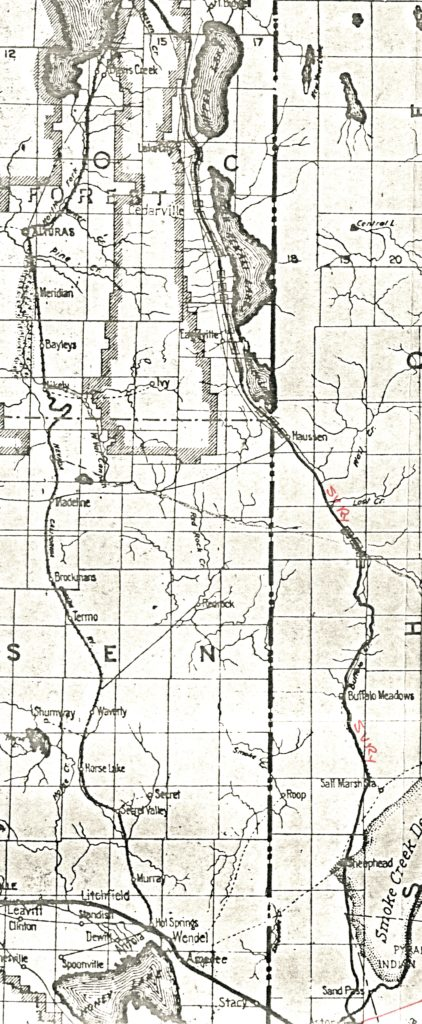 Map of the proposed Surprise Valley Railroad