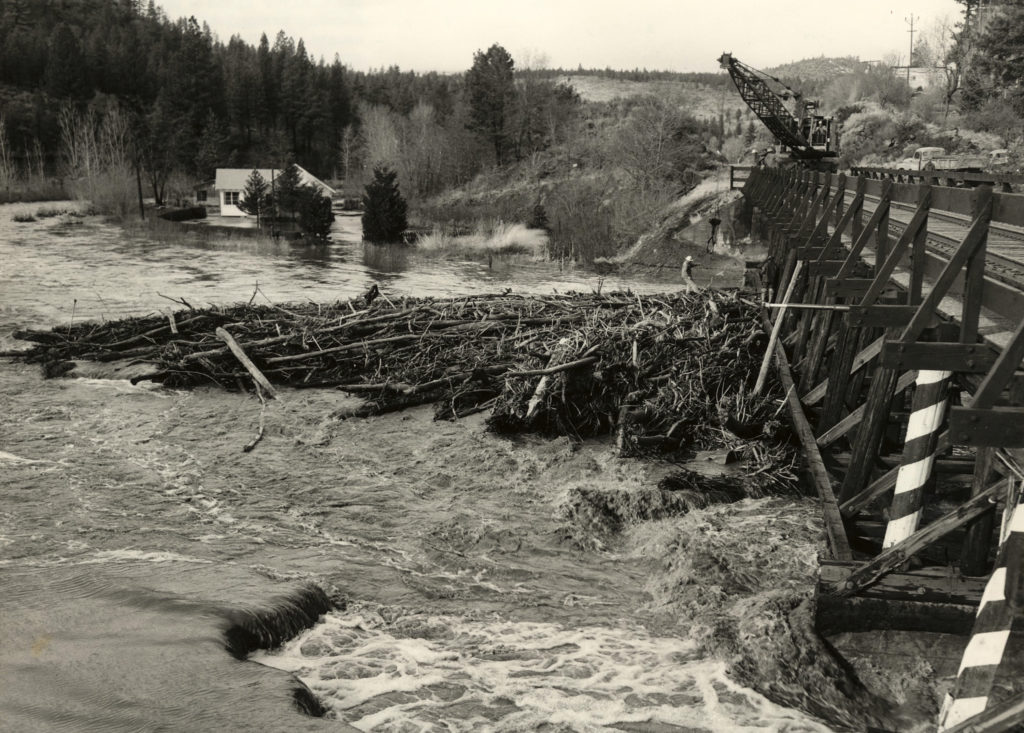 Southern Pacific's railroad trestle at South Lassen Street, December 1955.